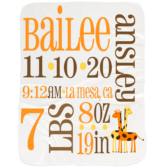 Baby Birth Stats Blanket - Baby Shower Personalized Gifts