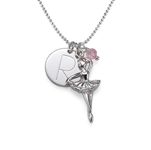 Ballerina Charm Sterling Silver Necklace