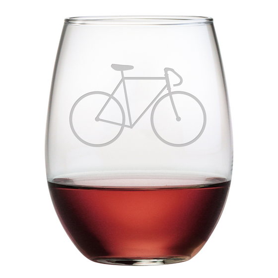 Bicycle Stemless Wine Glasses - Set of 4 | Premier Home & Gifts