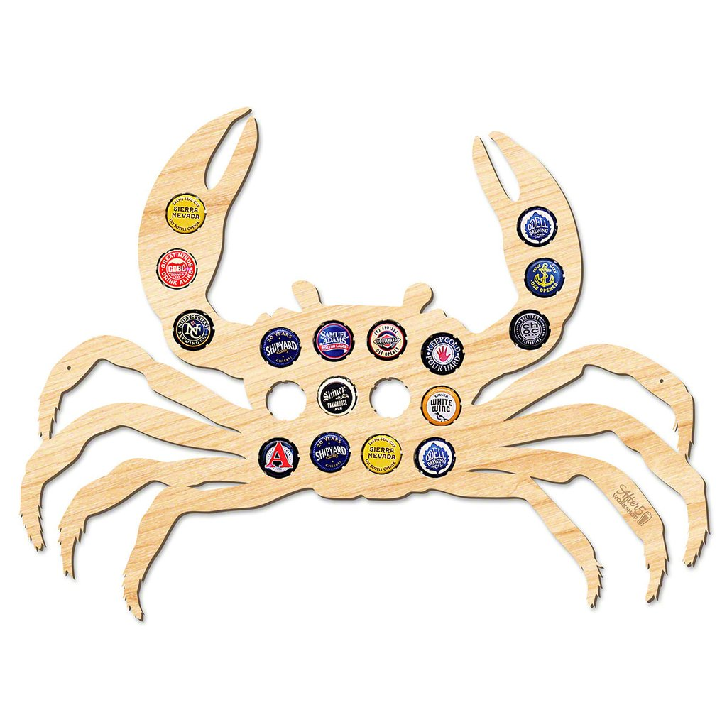 Crab Beer Bottle Cap Sign - Beach House Gifts - Premier Home & Gifts
