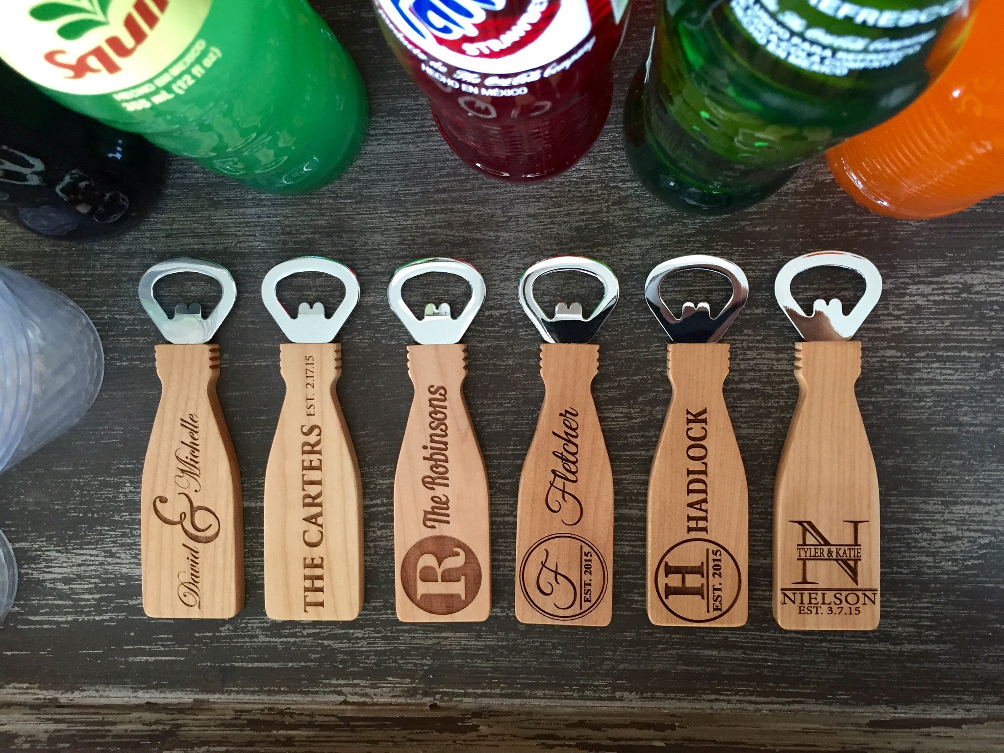 magnetic wood bottle openers personalized