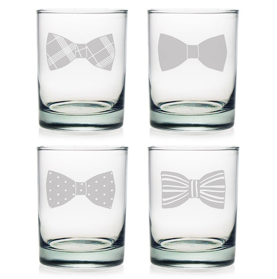 Bow Tie Double Old Fashioned Glasses