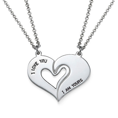 Couples Heart Necklaces with Engraving