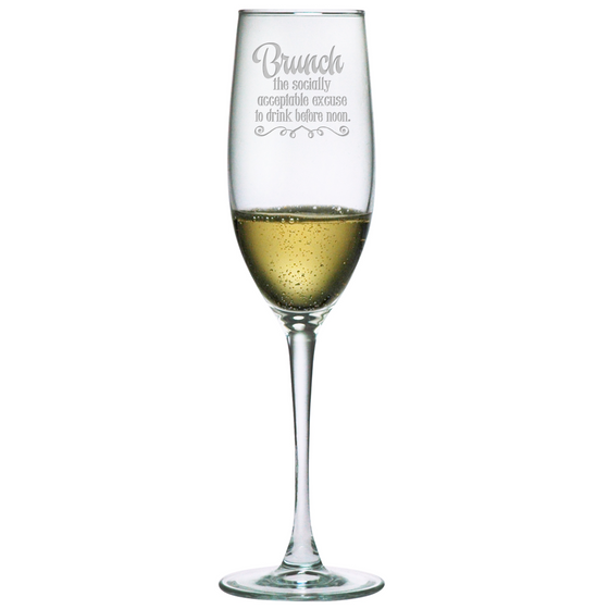 Brunch Socially Acceptable Champagne Glasses ~ Set of 4 - Premier Home & Gifts