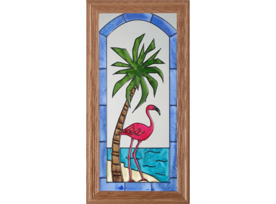Flamingo Palm Tree Hand Painted Stained Glass Art - Premier Home & Gifts
