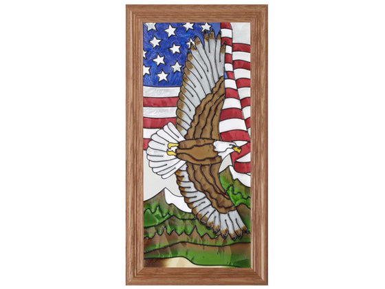 Soaring Eagle Hand Painted Stained Glass Art