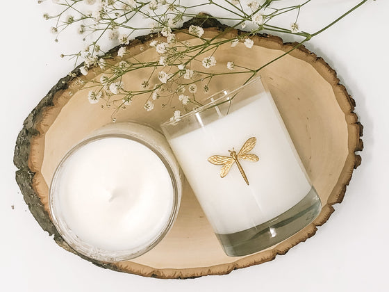 Dragonfly Glass Candle