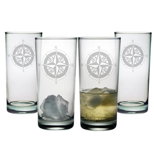 Compass Highball Glasses ~ Set of 4