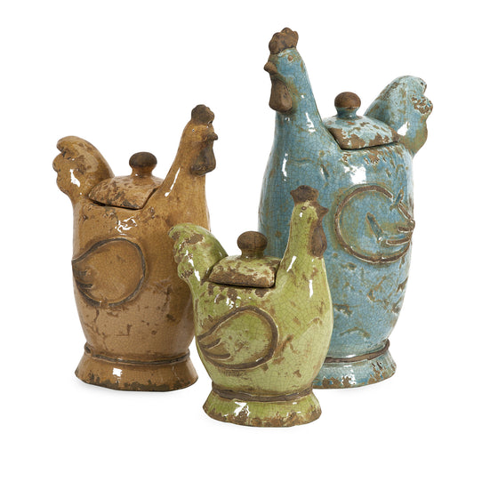Countryside Lidded Roosters - Set of 3 | Premier Home & Gifts