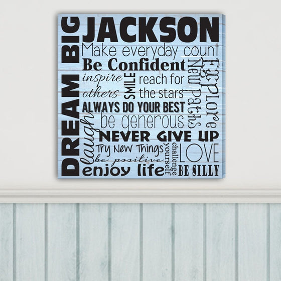 Dream Big Personalized Canvas Sign - Gifts for Boys