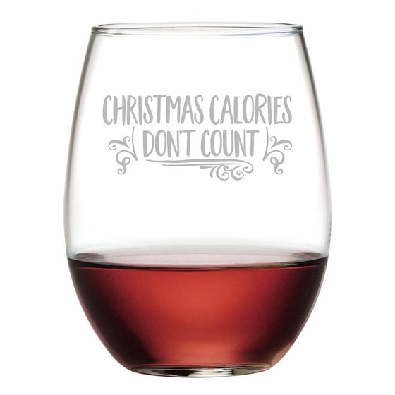Christmas Calories ~ Stemless Wine Glasses - Christmas Gifts