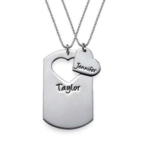 Couples Heart Dog Tag Necklaces