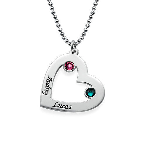 Leaning Heart Sterling Silver Necklace