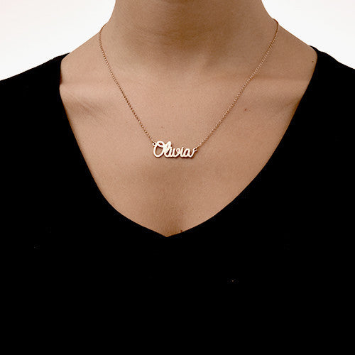 Cursive Name 18K Rose Gold Necklace