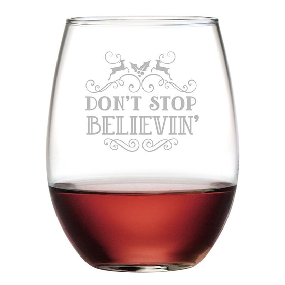 Don't Stop Believin' ~ Stemless Wine Glasses | Christmas Gifts