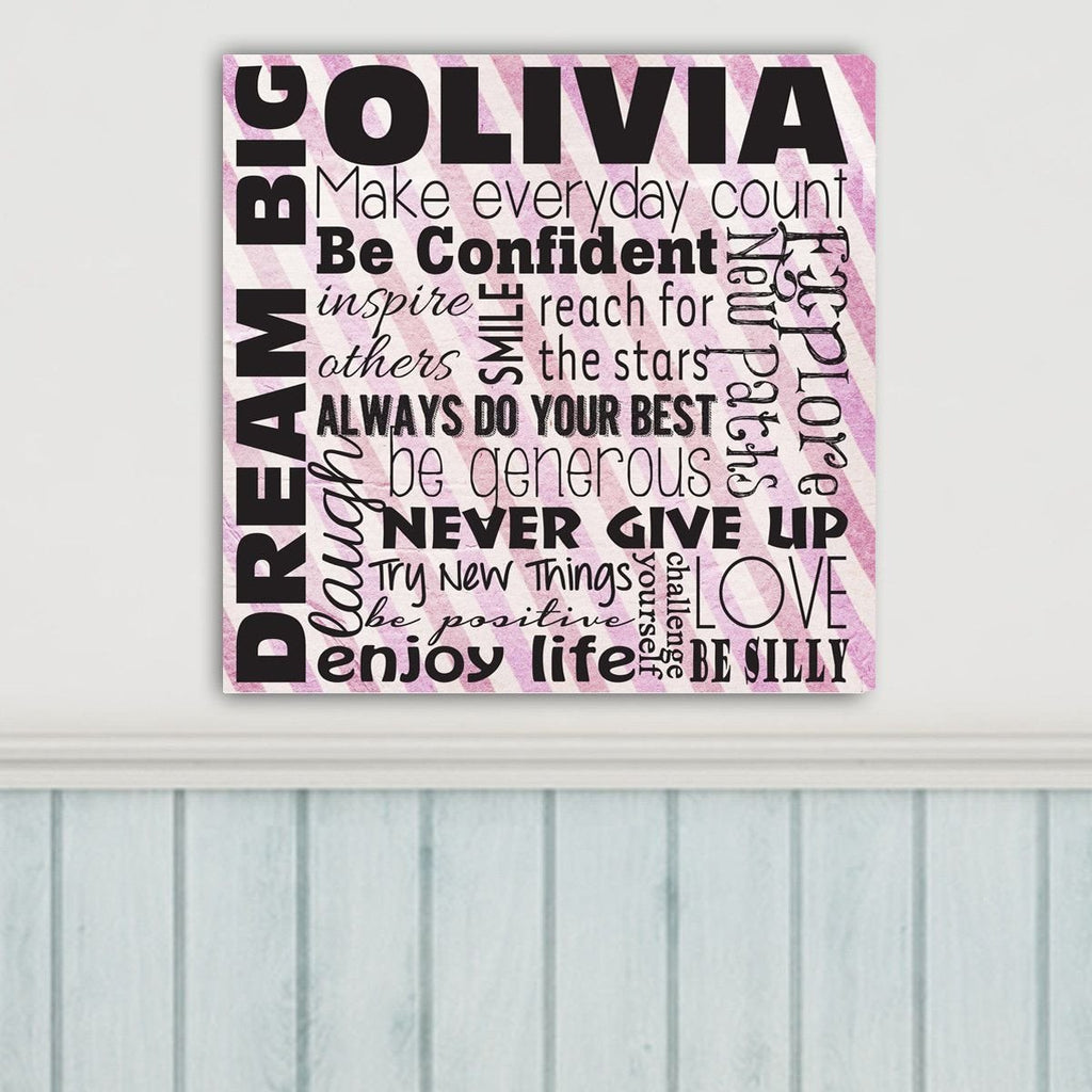Dream Big Personalized Canvas Sign - Gifts for Girls