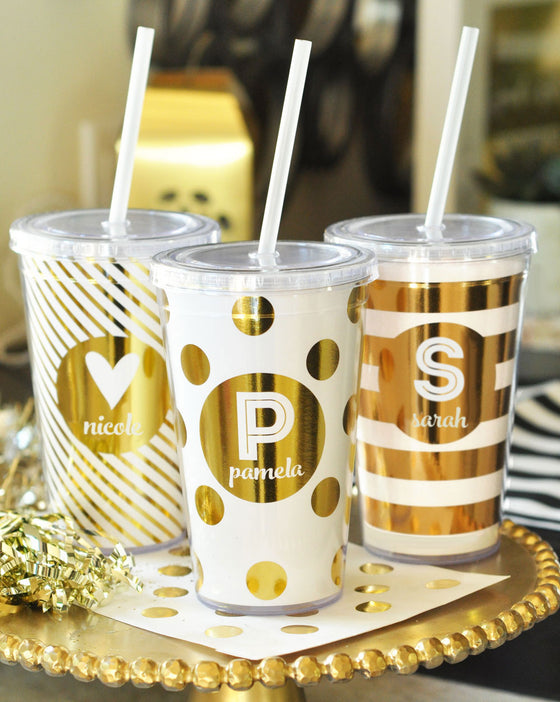 Metallic Dots & Stripes Personalized Tumbler - Party Favors