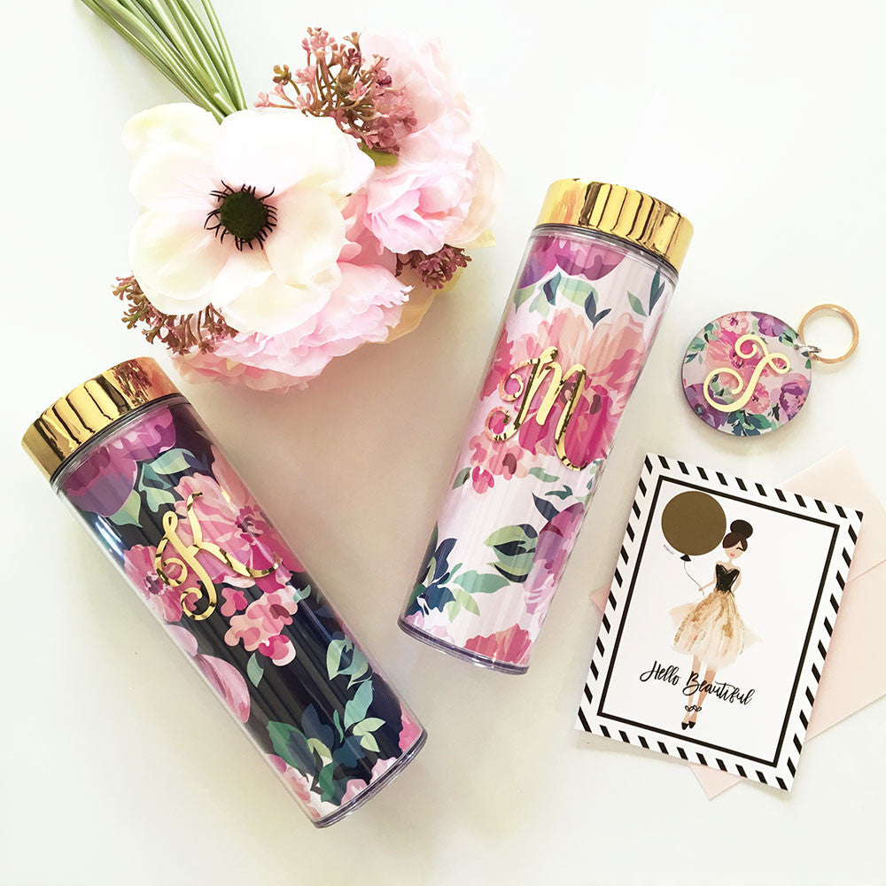 Floral Tumbler with Initial - Personalized Cup Bridal Favors