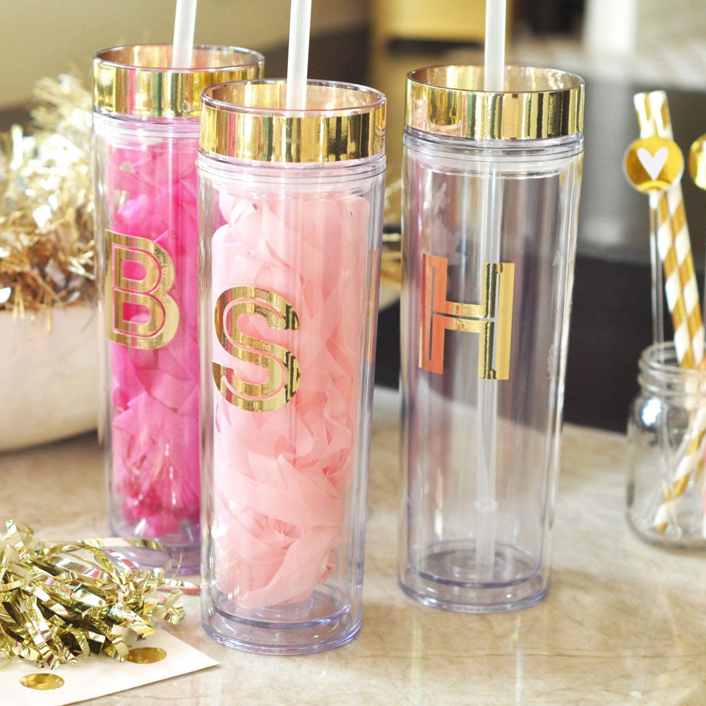 Metallic Gold Personalized Tumbler - Party Favors with Monogram