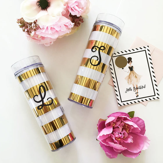 Bold Stripes Tumbler - Personalized Initial Cup Bridal Favor