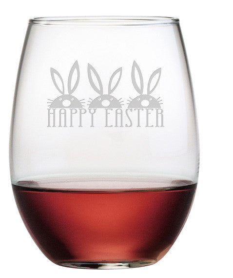 Easter Bunnies Stemless Wine Glasses ~ Set of 4