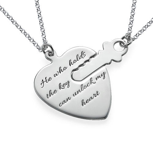 Key to My Heart Necklaces with Engraving