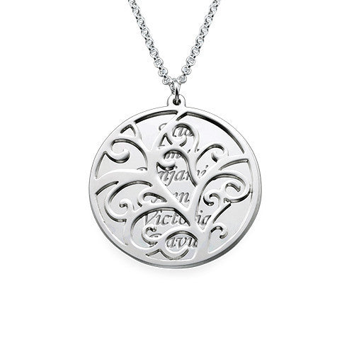Filigree Family Tree Necklace - Sterling Silver