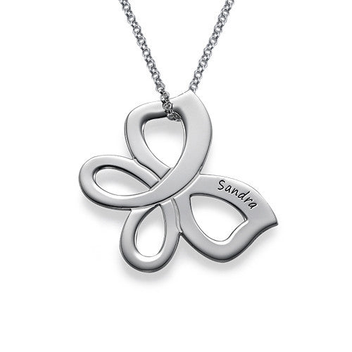 Floating Butterfly Sterling Silver Necklace