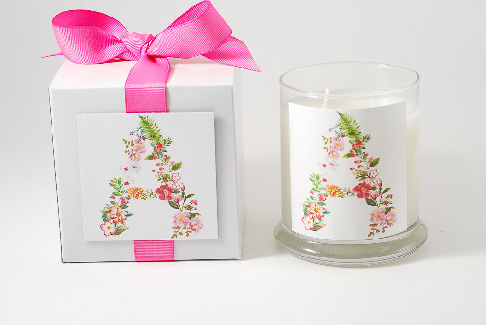 Floral Letter Personalized Candles - Premier Home & Gifts