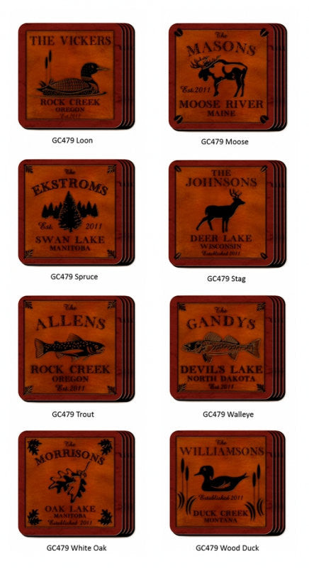 Cabin Coaster Set ~ Personalized