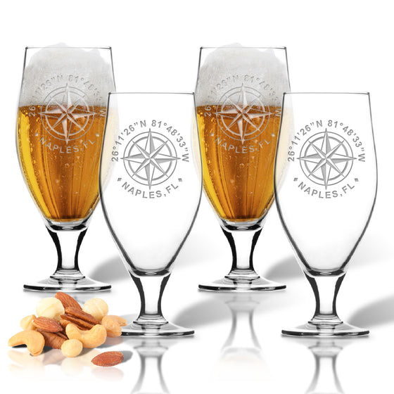 GPS Coordinates Cervoise Beer Glasses - Lake House Gifts