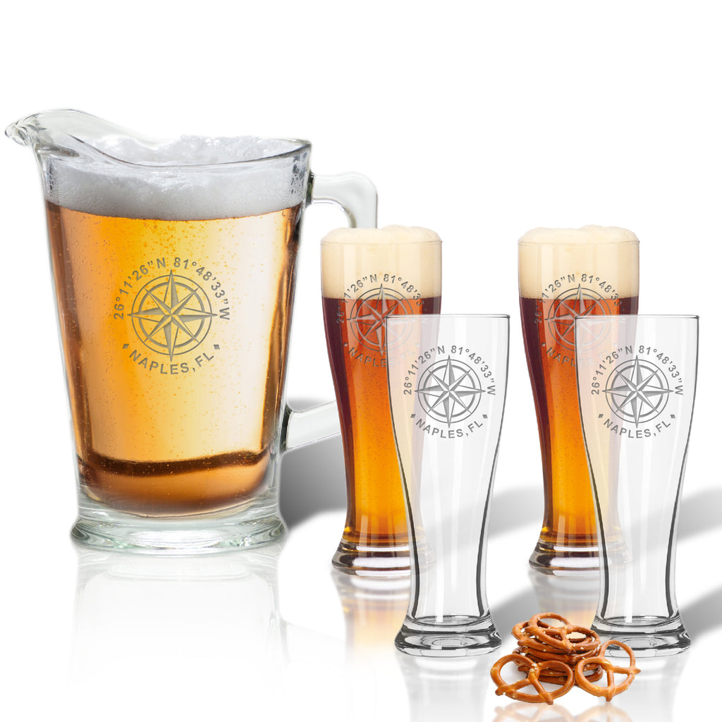 GPS Coordinates Beer Glasses and Pitcher Gift Set - Lake House Gifts