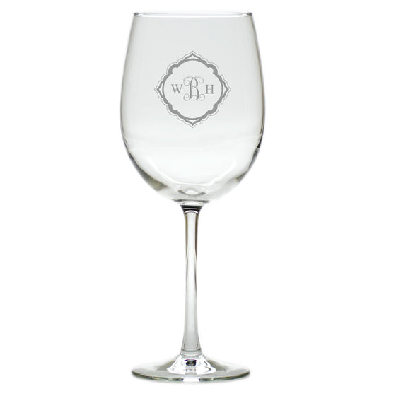 Elegant Monogram Wine Glasses ~ Set of 4
