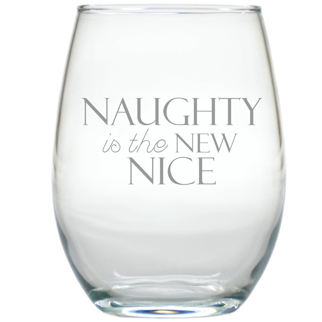 Naughty is the New Nice ~ Stemless Wine Glasses ~ Set of 4