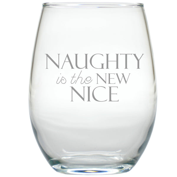 naughty is the new nice stemless wine glasses
