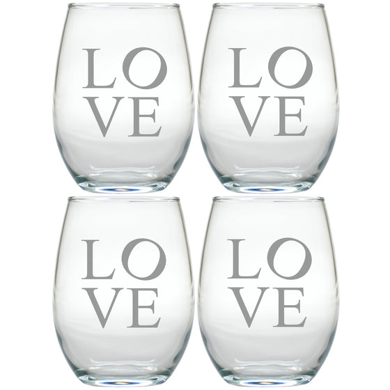 Crazy in Love ~ Stemless Wine Glasses ~ Set of 4