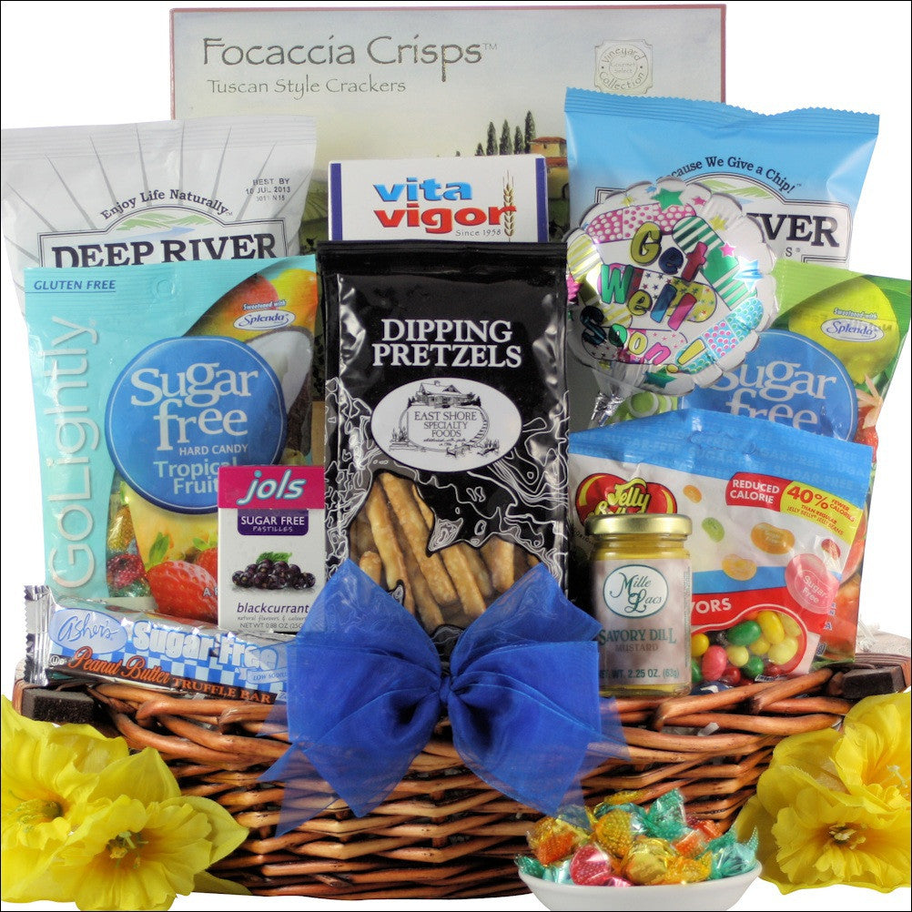 Sugar Free Get Well Wishes Gift Basket - Premier Home & Gifts