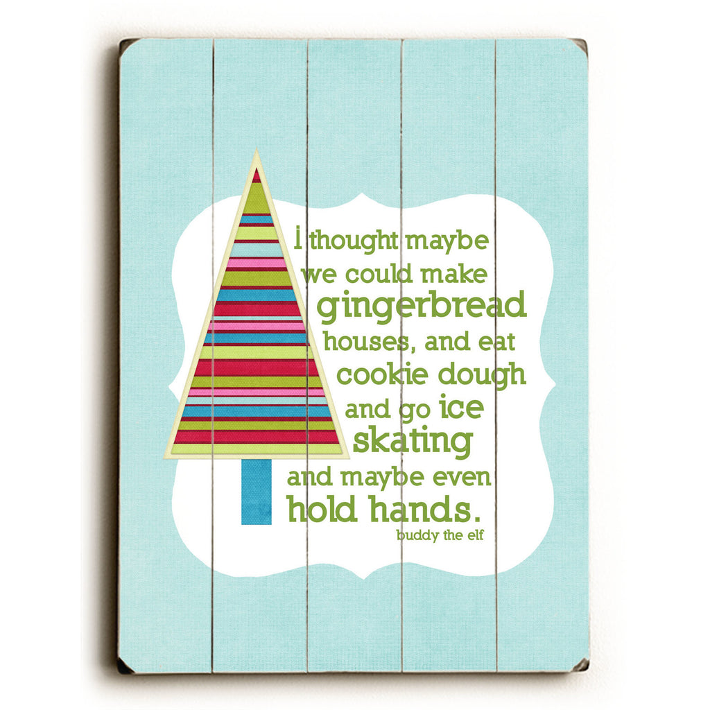 Gingerbread Houses Wood Sign - Blue