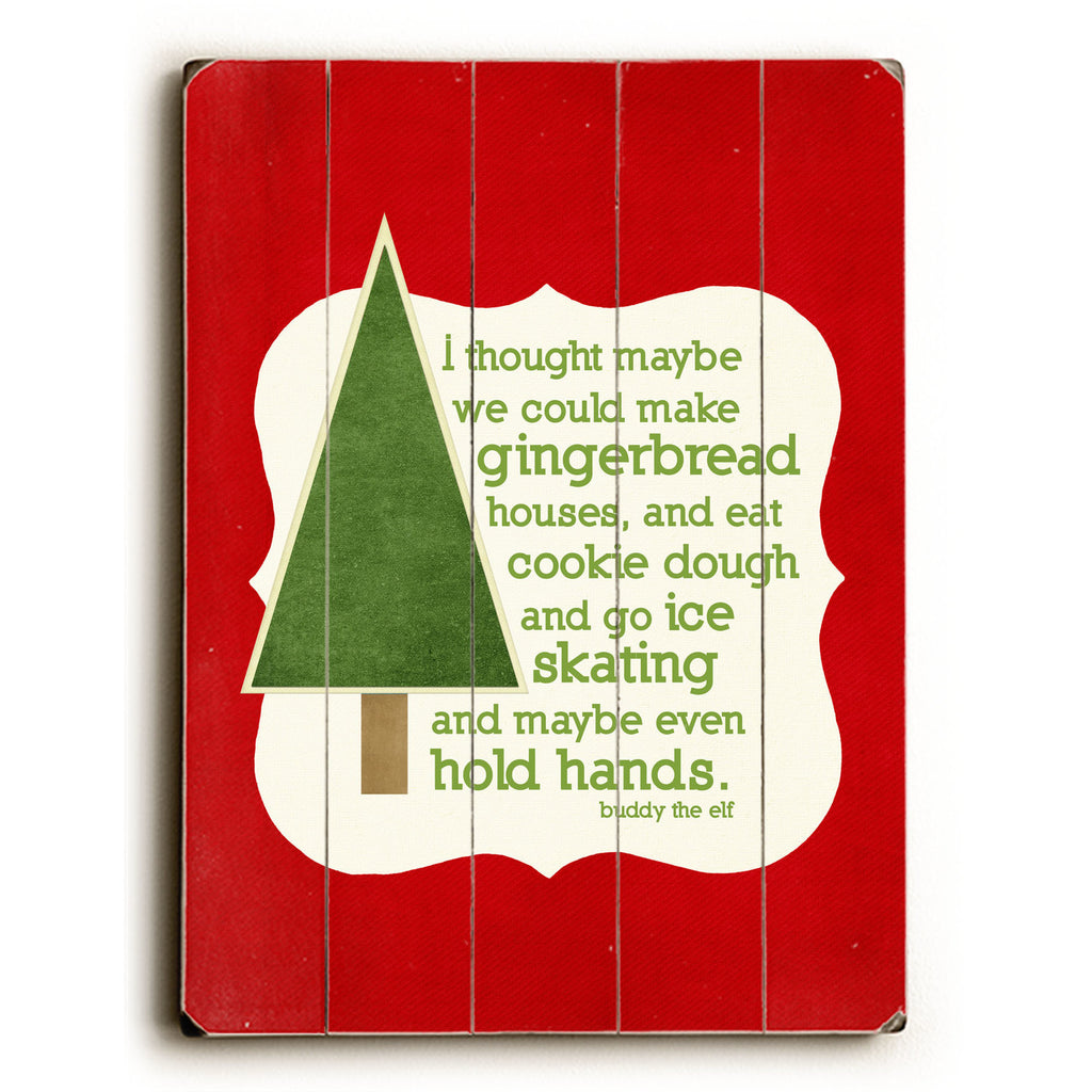 Gingerbread Houses Wood Sign - Red