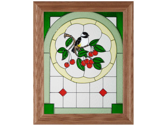 Chickadee Hand Painted Stained Glass Art - Premier Home & Gifts