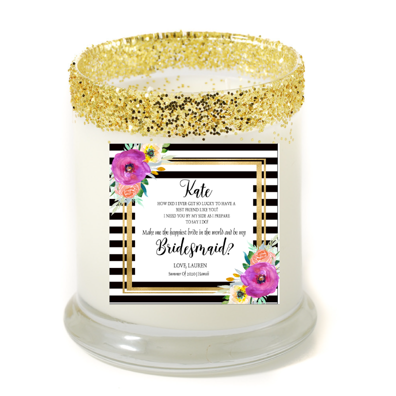 Abella Happiest Bride Personalized Candle - Bridesmaid Gifts - Premier Home & Gifts