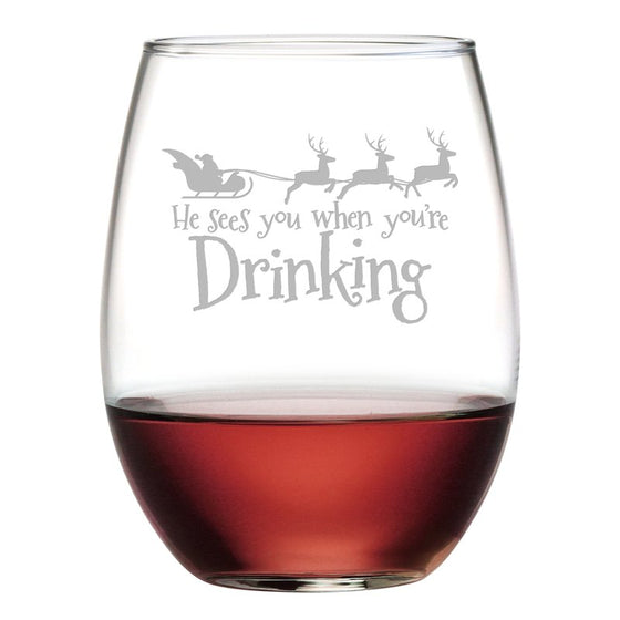 You're Drinking Christmas Stemless Wine Glasses - Christmas Gifts