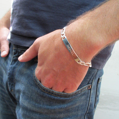 Men's ID Sterling Silver Bracelet