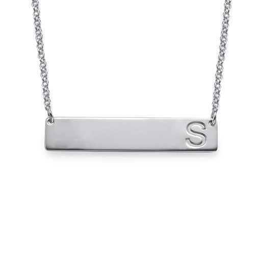 Initial Bar Necklace - Sterling Silver