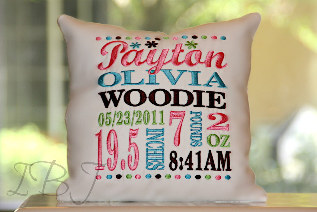 Flowers Birth Announcement Pillow