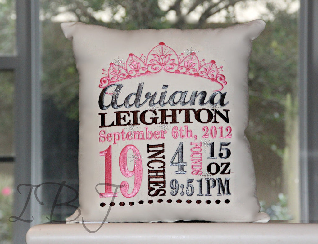 Princess Birth Announcement Pillow