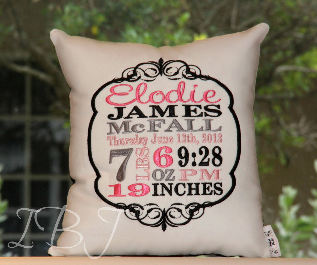 Elegant Birth Announcement Pillow