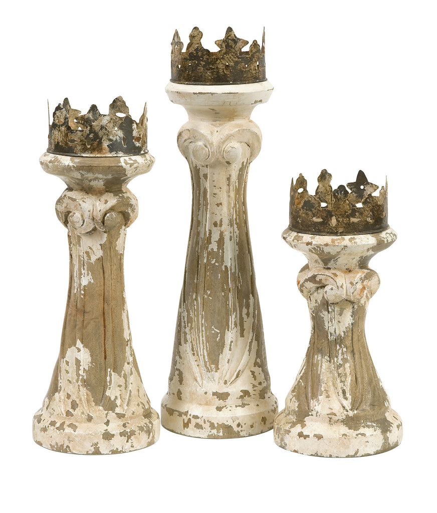 Handcarved Wood & Metal Candleholders - Set of 3