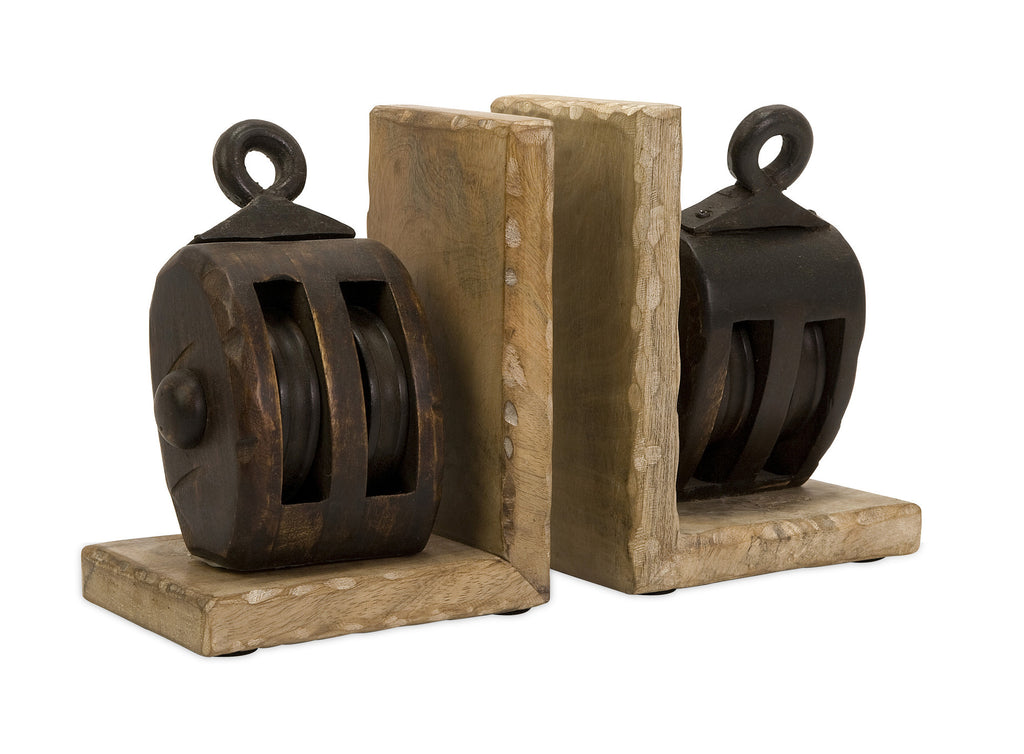 Wooden Pulley Bookends