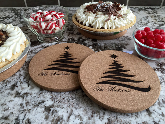 Christmas Tree Cork Trivets - Set of 2 - Personalized